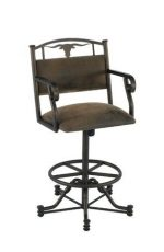 Callee's Wrangler Tilt Swivel Bar Stool with Arms and Longhorn Cut-Out on Backrest