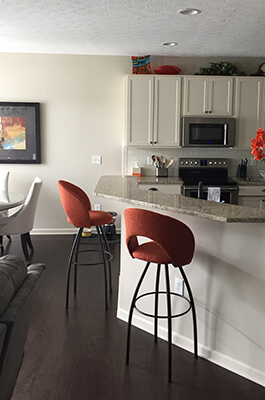 Customer Kitchen featuring Trica's Biscotti Swivel Stool with a Transitional/Modern Style