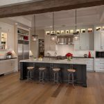 Kitchen island base color is dark gray