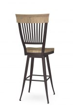 Amisco's Annabelle Country Swivel Metal Bar Stool in Brown with Vertical Slats on Back and Wood Seat - Back View