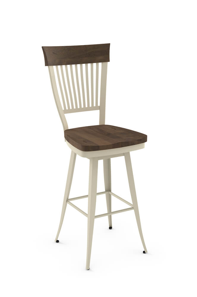 Amisco's Annabelle Swivel Bar Stool with Distressed Solid Wood Back and Seat, Metal Frame and Footrest