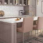 Amisco's Darlene Upholstered Bar Stools in Salmon Color, in Transitional Kitchen