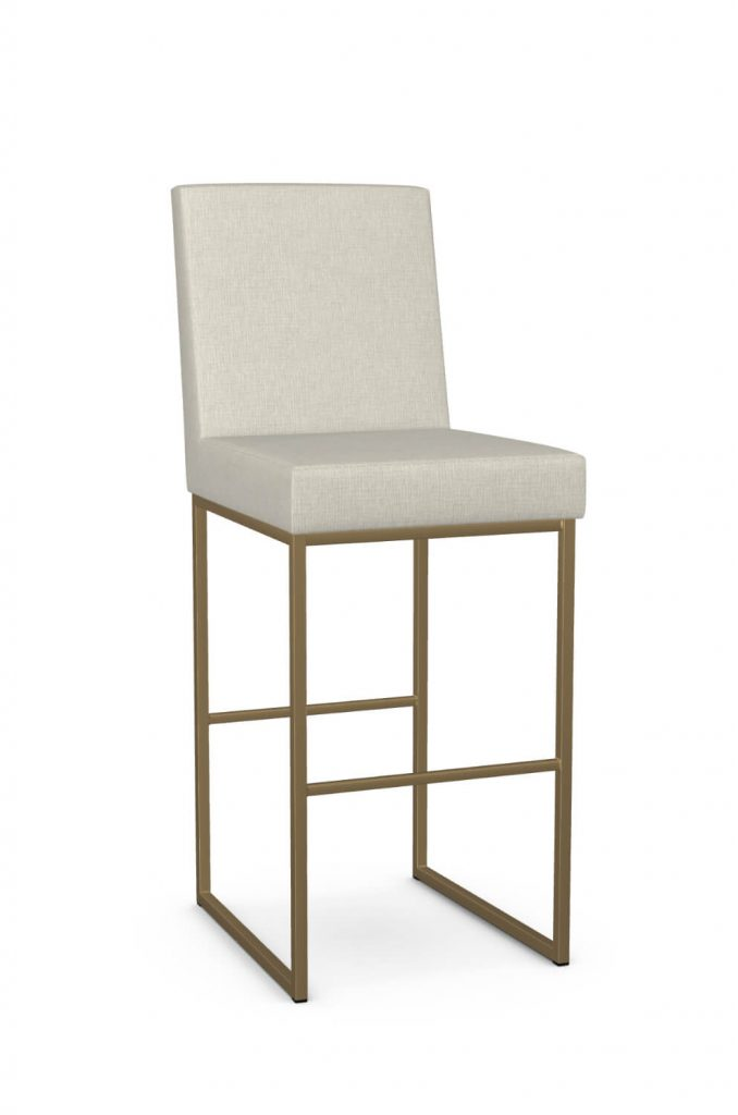 Amisco's Darlene Upholstered Modern Gold Stationary Bar Stool with Back