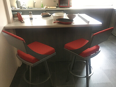 Fame Modern Swivel Bar Stool with Back in Customer's Kitchen