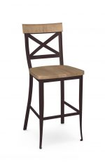 Amisco's Kyle Industrial Dark Brown Stationary Bar Stool with Cross Back Design and Wood Seat and Back