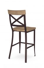 Amisco's Kyle Industrial Dark Brown Stationary Bar Stool with Cross Back Design and Wood Seat and Back - View of Back