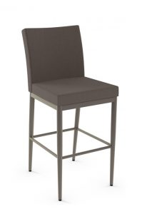 Amisco's Monroe Stationary Modern Square Bar Stool with Upholstered Back and Seat