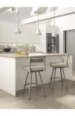 Amisco's Viggo Metal Swivel Barstools with Low Back in Nordic Modern Kitchen