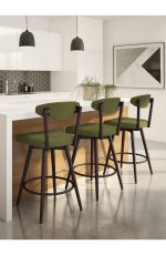 Amisco's Wilbur Scandinavian Swivel Bar Stools in Modern White Bright Kitchen
