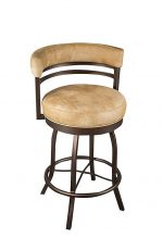 Wesley Allen's Atlanta Swivel Bar Stool with Curved Padded Back and Round Seat Cushion