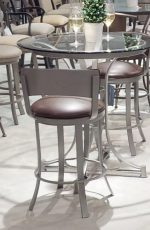 Wesley Allen's Bali Swivel Barstool with Low Padded Backrest and Metal Backside