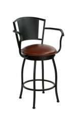 Wesley Allen's Berkeley Swivel Bar Stool with Arms in Black Metal Finish and Reddish Brown Seat