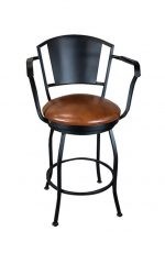 Wesley Allen's Berkeley Swivel Barstool with Arms and Round Seat Cushion in Saddle Bonded Leather