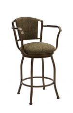 Wesley Allen's Boise Swivel Bar Stool with Padded Back and Seat and Arms