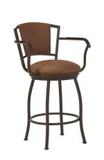 Wesley Allen's Boise Swivel Bar Stool with Curved Back in Expresso Metal with Arms