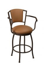 Wesley Allen's Boise Swivel Upholstered Bar Stool with Arms in Expresso Finish and Saddle Color Vinyl