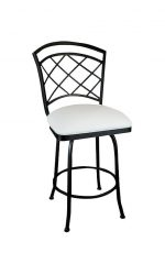 Wesley Allen's Boston Swivel Barstool, Lattice Back Design and Square Seat Cushion