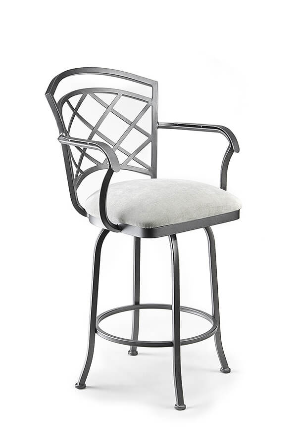 Wesley Allen's Boston Swivel Barstool with Arms, Lattice Back Design and Square Seat Cushion