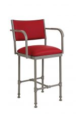 Wesley Allen's Bridgeport Non-Swivel Stool with Back and Curved Arms