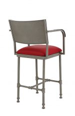 Wesley Allen's Bridgeport Non-Swivel Stool with Back and Curved Arms - View of Backside