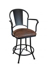 Wesley Allen's Cleveland Swivel Bar Stool with Arms and Seat Cushion