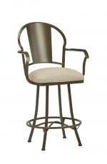 Wesley Allen's Cleveland Swivel Bar Stool with Arms in Expresso Metal Finish