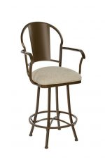 Wesley Allen's Cleveland Swivel Bar Stool with Arms in Expresso Metal Finish and Tan Seat Cushion