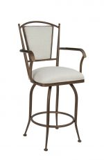 Wesley Allen's Durham Swivel Bar Stool with Arms - Shown in Copper Bisque Metal Finish and Off-White Seat and Back Cushion