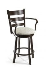 Wesley Allen's Hayward Swivel Barstool with Curved Ladder Back and Seat Cushion and Arms