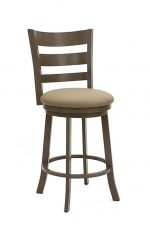 Wesley Allen's Hayward Swivel Barstool with Curved Ladder Back and Seat Cushion