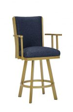 Wesley Allen's Humphrey Swivel Bar Stool in Gold Metal Finish and Blue Seat / Back Cushion with Arms
