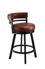 Wesley Allen's Miramar Swivel Bar Stool with Curved Low Padded Back
