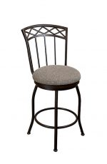 Wesley Allen's Pittsburg Swivel Bar Stool with Back and Round Seat Cushion