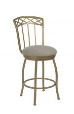Wesley Allen's Pittsburg Swivel Metal Bar Stool with Slat Back in Gold