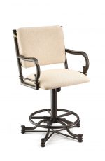Wesley Allen's Portland Tilt Swivel Upholstered Bar Stool with Curved Arms