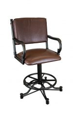 Wesley Allen's Portland Tilt Swivel Vinyl Upholstered Bar Stool with Arms