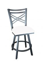 Wesley Allen's Raleigh Swivel Bar Stool with Cross Back Design and Seat Cushion