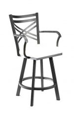 Wesley Allen's Raleigh Swivel Bar Stool with Cross Back Design and Seat Cushion with Arms