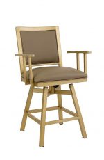 Wesley Allen's Windsor Upholstered Swivel Stool with Arms and in Gold metal finish