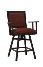 Wesley Allen's Windsor Tilt Swivel Bar Stool with Arms in Black and Red