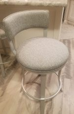 Wesley Allen's Bali Swivel Kitchen Counter Stool with Low Back in Silver