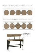 Amisco's Architect Bar Stool Bench Distressed Solid Wood Characteristics