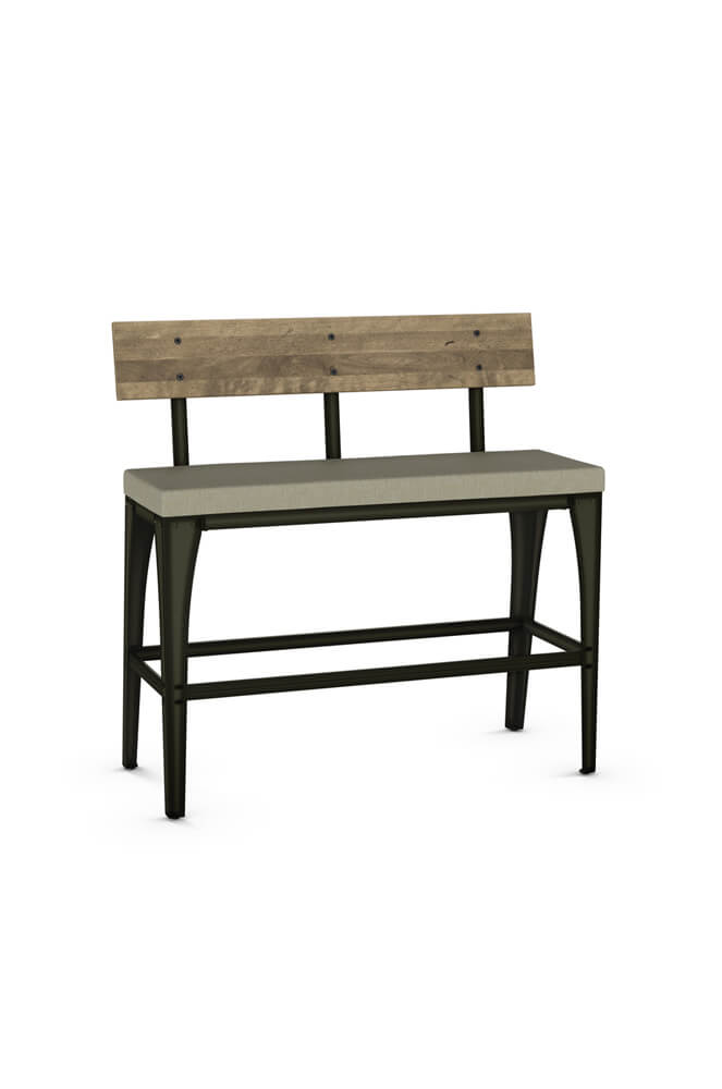 Amisco S Architect Barstool Bench With Distressed Wood Back And Seat Cushion