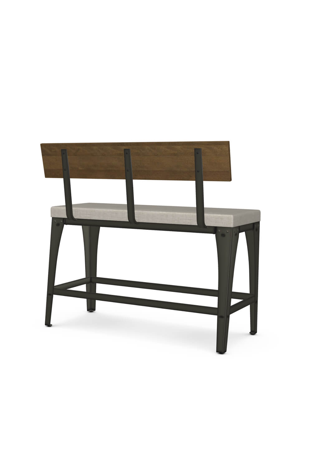 Picture of: Amisco S Architect Industrial Counter Height Bench With Back And Cushion