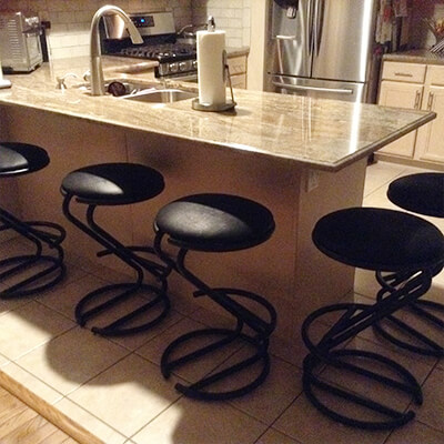 Lisa Furniture's 97 Modern Round Backless Stool in Black with Seat Cushion and Metal Base