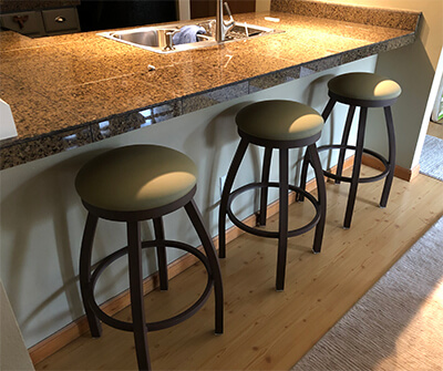 Holland's Misha Backless Swivel Counter Stools in Khaki Seat Cushion and Bronze Metal Finish