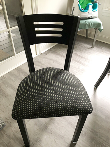 Holland's Voltaire Dining Chair with Seat Cushion and Metal Frame