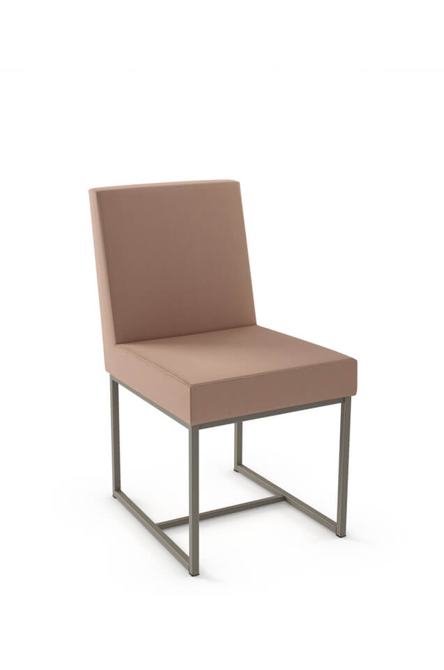 Amisco's Darlene Upholstered Dining Chair with Sled Base - Shown in light Pink fabric