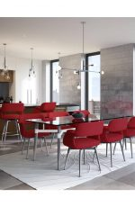 Amisco's Sorrento Swivel Upholstered (in Red) Dining Chairs in Modern Open Concept Dining Room