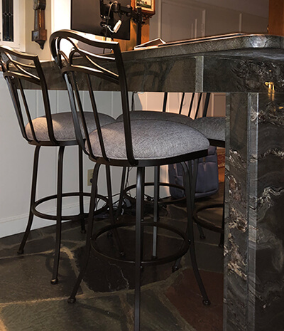 Callee's Berkeley Swivel Bar Stool in Pebblestone metal finish and Gray fabric seat cushion, with Tall backrest